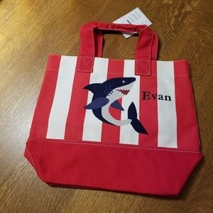 "Pottery Barn Kids Red Stripe Shark Kid Tote ""Evan"""